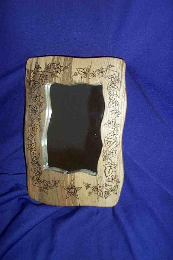 RUSTIC SCRYING MIRROR - PYROGRAPHED