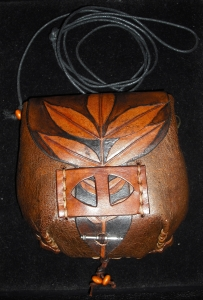 BROWN LEATHER SHOULDER/BELT BAG